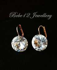 Crystal Round Drop Earring/White Gold Plated/Swarovski Elements/RGE366/361/541