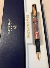 VINTAGE WATERMAN REFLEX PEACOCK RED GT FINE NIB FOUNTAIN PEN-FRANCE-BOXED-MINT