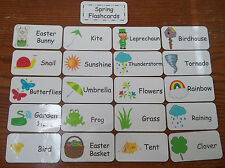 Spring Season themed Word Flash Cards.  Preschool Picture and Word flash cards.