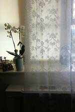 Laura Ashley white Cotton Lace Curtain c1900s Ribbons period design Yardage sold