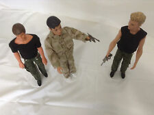 3 Complete Outfits Camo Green Brown Clothes Metal Guns Weapons WORN BY KEN DOLLS