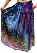 Ladies Indian Party Boho Gypsy Hippie Long Sequin Skirt Rayon Belly Dance r3
