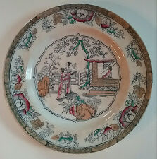 "Tea House / Chinese Pattern 1870 Polychrome Cabinet Plate 10 1/4"" Hope Carter"