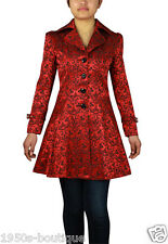 GOTHIC Victorian Vintage Gypsy Lace-Up Ruffled Jacket Coat BLACK RED NO 39