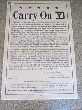 """1920 Post war poster"""" Carry On YD"""", the 26TH-yankee Division (Fundraiser)-rare"""