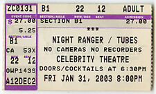 NIGHT RANGER / THE TUBES (band) Concert Ticket Jan 31, 2003 Arizona Celebrity