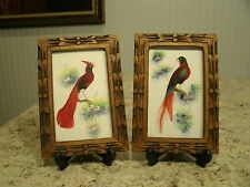 Unique Vintage Pair of Hand Painted Feather Art Bird Pictures Carved Wood Frames