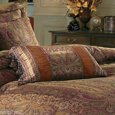 Croscill MADEIRA Square FASHION Boudoir PILLOW 3PC Set Brown Gold Red Spice