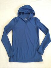 Under Armour Womens S Cold Gear Blue Long Sleeve Hooded Shirt Fitted Compression