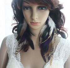 53a3-25 chain double color Natural Feather Earrings Jewelry 1 pair lhf130930