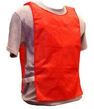 WORKOUTZ RED NYLON SCRIMMAGE VESTS (12 QTY, YOUTH) BIBS SOCCER PINNIES PRACTICE