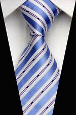 PRICED TO CLEAR!! Mens Classic Bar Stripes Silk Jacquard Necktie Tie Blue White