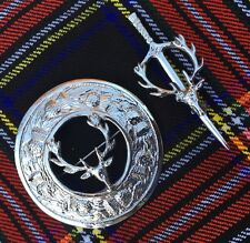 SCOTTISH KILT FLY PLAID BROOCH STAG HEAD/STAG HEAD KILT PIN/KILT PINS/Brooch Pin