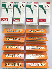 4 x SWAN MENTHOL EXTRA SLIM Tips(480) & 10 Booklets RIZLA LIQUORICE PAPERS(500)