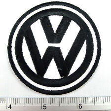 "Volkswagen VW Logo embroidered iron on patches appliques 2.75x2.75"" White&Black"
