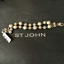 NEW ST JOHN KNIT DESIGNER BRACELET CHAIN GOLD COLOR BALLS CRYSTALS