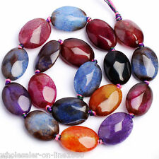 """12X16MM FACETED FLAT MULTI-COLOR CRACKED AGATE OVAL LOOSE GEMSTONE BEADS 15"""" AAA"""