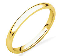 Ladies 100% 10K Yellow Gold Plain Domed Wedding Band 2mm Wide  - Comfort-Fit