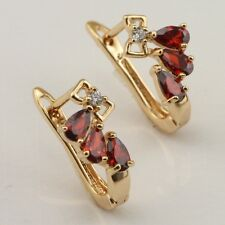 Marvelous Red Ruby Fashion Jewelry Gift Gold Filled Huggie Earrings er918