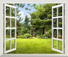 """Wall Mural -Garden View out of the Open Window Creative Wall Decor - 24""""x32"""""""
