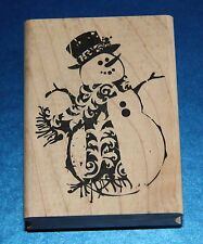 NEW Inkadinkado 'Ornate Snowman' Christmas Wooden Backed Rubber Stamp 98660DD