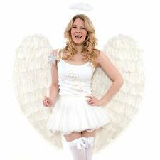 EXTRA LARGE FEATHERED ANGEL WINGS - HEN PARTY FANCY DRESS - WHITE COSTUME WINGS