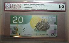CANADA 2004 $20 AYS (6.000M-6.004M) SNR Replacement BCS Graded CHOICE UNC 63