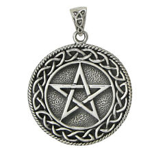 Sterling Silver Solid Celtic Knot Pentacle Pentagram Pendant Knotwork Jewelry