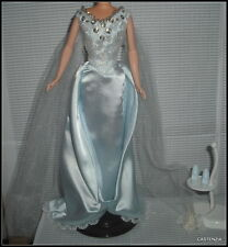 OUTFIT BARBIE DOLL MARLENA EVANS DAYS OF OUR LIFE BLUE SATIN GOWN SHOES FLOWERS