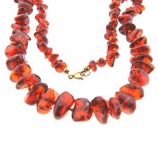 Graduated Red Baltic Amber Necklace Strand 8-15mm 21 inch