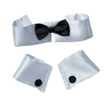 BOW TIE COLLAR CUFFS MALE STRIPPER 3PC SET TOPLESS WAITER BUTLER FANCY DRESS