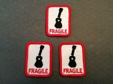 FRAGILE Patch for Ukulele or Guitar Case - Set of 3 decal sticker embroidered