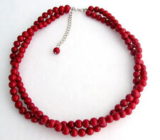 Red Pearl Twisted Necklace Two Strand Christmas Holiday Gift Bridesmaid Necklace
