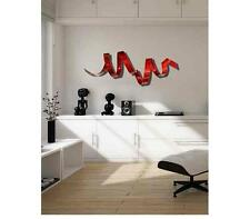 Red Twisted Metal Wall Art Sculpture Accent  Modern Abstract Decor by Jon Allen