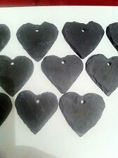 20 X Slate Heart Wedding Favours Hanging Name Tag Label Place Plant Marker 4cm +