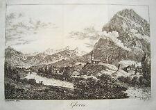 Glarus Glaris Glarona  Schweiz seltener  echter alter  Kupferstich 1820