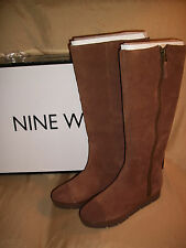 NEW Womens 10 NINE WEST Gladys Zip-Up Brown SUEDE Fleece lined Tall Winter Boots