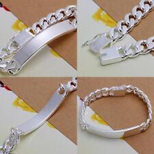 925 Sterling Silver Jewelry Men's Cuban link ID bracelet Bangle  D32
