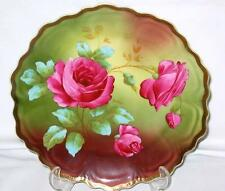 Z. S. & Co. Bavaria Royal Vienna Red Roses Hand Painted Signed Plate 10""