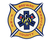 4x4 inch BREVARD COUNTY FIRE RESCUE Logo Shaped Sticker - fl firefighter florida