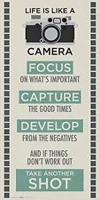 Life is a Camera Inspirational Motivational Photography Quote Poster Print 12x24