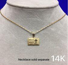 14K YELLOW GOLD PENDANT HOLY BIBLE 1.2G STAMPED:14K MA BEAUTIFUL * FREE SHIP *