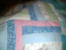 Stunning vintage handmade patchwork quilt multi-coloured double bed bedspread