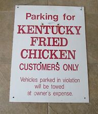 Vintage Kentucky Fried Chicken KFC Parking Metal Sign HTF Maroon Lettering 18x24