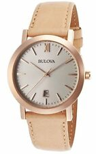 Hot! New Beautiful Bulova Women's 97B144 Genuine Leather Band Gold-Tone Be Watch
