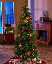 Lighted Christmas Tree 6-Ft Tall Pre Lit Pop Up Multi-Color Bulbs Easy Assembly