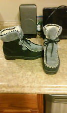 Vintage Snowland womens winter boots sz 7 bLACK  faux fur ankle snow