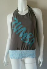 ZUMBA Athletic Wear Workout Gray Turquoise Halter Top Shirt sz S / M