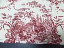 "French Country Rooster Toile Wide Valance Handmade Burgundy Cream 106"" x 11"""