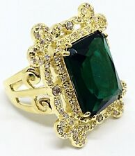 Melania Trump Jewelry Emerald Cut Openwork Gold tone Framing Ring Size 8